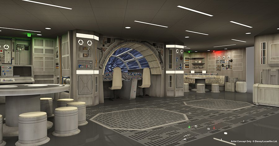 El halc n milenario de star wars estar a bordo del disney for Interior halcon milenario